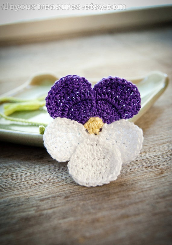 Crochet Violet Flower Pattern : Handmade Crochet Bookmark Violet Pansy Flower by ...