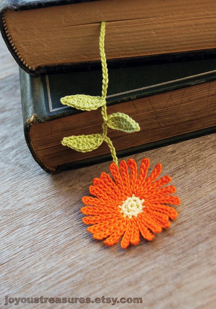 Handmade Crochet Flower Bookmark Orange Aster