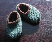 Wool Baby Slippers - Jade and Chocolate, 3, 6 or 12 months