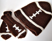 Wool Baby Football Hat and Mitten Set