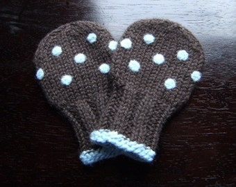 Wool Baby Mittens - Polkadots, Thumbless Wool Baby Mittens