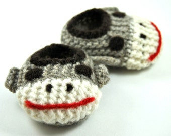 Wool Baby Sock Monkey Slippers, Wool Baby Slippers, Crib Shoes, Booties