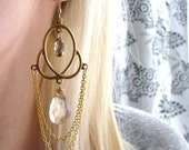 FIONA-Grecian Brass and Gold Chandelier Earrings with Champagne Quartz and Swarovski Crystals