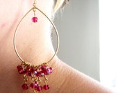 RASPBERRY-Cascading Raspberry Golden Chandelier Earrings