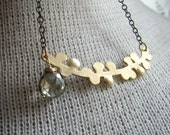 DEBRA-Golden Twig and Gunmetal Chain Necklace with Champagne Quartz Briolette