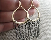 MIXED-Golden Moroccan Teardrop and Gunmetal Chain Earrings