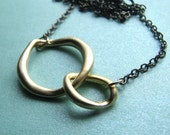 INFINITY-Golden Link and Gunmetal Chain Necklace