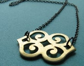 SURI-Golden Moroccan Pendant and Gunmetal Chain Necklace