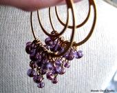 MYSTIC-Cascading Amethyst Double Golden Hoop Chandelier Earrings