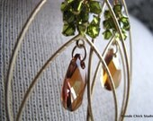 MUM-Copper and Olivine Swarovski Crystals and Gold Chandelier Earrings for Autumn