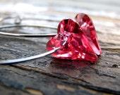 SWEETHEART-Pink Swarovski Crystal Heart Hoop Earrings