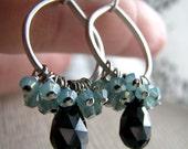 CHLOE- Tiny Silver Teardrop Hoop Earrings with Pacific Opal Swarovski Crystals and Black Cubic Zirconia