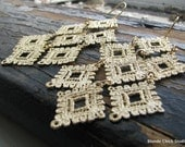 LACE no 5-Golden Metal Lace Chandelier Waterfall Earrings