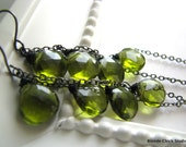 PESTO-Olive Green Quartz Cascading Long Earrings - BlondeChick
