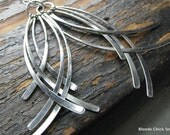 CURVED-Silver Curved Metal Dangle Statement Earrings