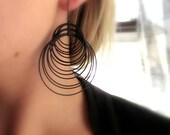 LOOPY-Multiple Matte Black Hoop Chandelier Earrings