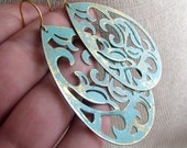 CALIESE-Teal Distressed Teardrop Medallion Filigree Tribal Earrings