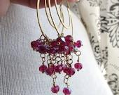 STRAWBERRY-Cascading AB Raspberry Pink Double Golden Hoop Chandelier Earrings