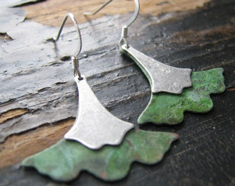 SOPHIE-Patina and Silver Ginkgo Leaf Earrings