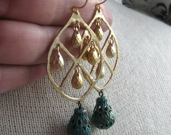 CARSON-Golden Window Chandelier with Green Patina Filigree Cup Bead Earrings