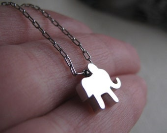 ELEPHANT-Tiny Silver Elephant Necklace