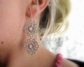 LACE no.2-Silver Metal Lace Floral Chandelier Earrings