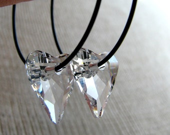 SWEETHEART-Clear Swarovski Crystal Heart Hoop Earrings