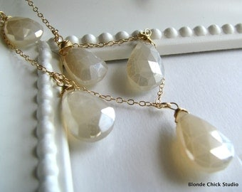 MOONLIGHT-14Kt Gold Chain and Pearl Chalcedony Briolettes Necklace