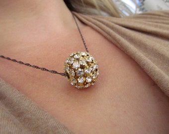 BRIDGETTE-Romantic Rhinestone Ball Gold Glamour Necklace
