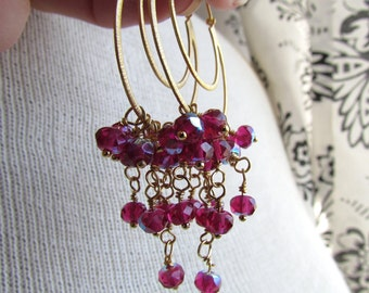STRAWBERRY-Cascading AB Raspberry Pink Double Golden Hoop Chandelier Earrings