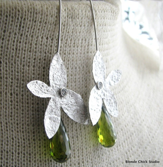 FERN-Silver Textured Flower Earrings with Olive Cubic Zirconia