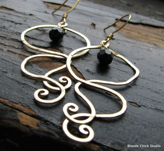 MOLLY-Golden Genie Smoke Earrings with Black Swarovski Crystals