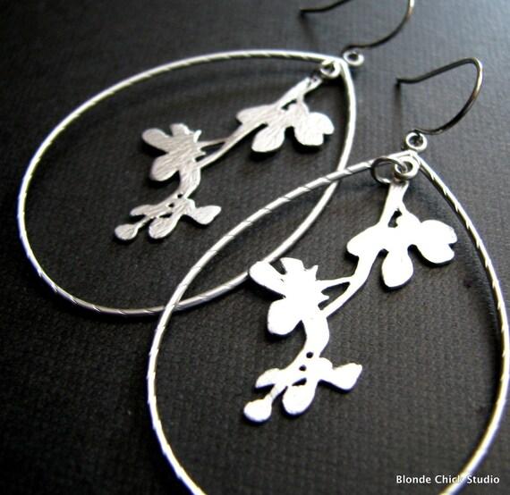 ERIN-Encased Silver Twig Hoop Earrings