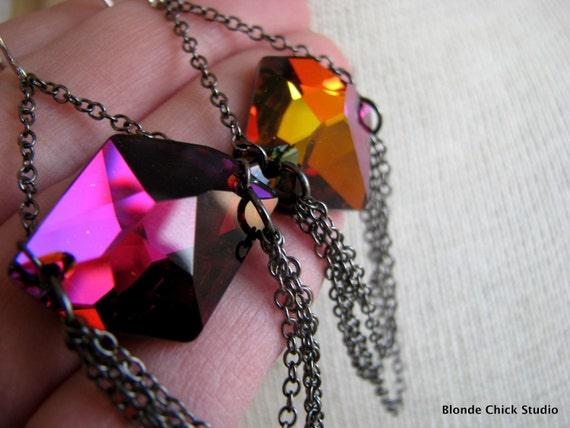 VOLCANO-Multi Color Flat Back Swarovski Crystals and Gunmetal Chain Earrings