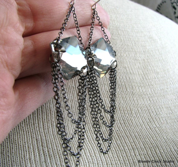SULTRY-Silver Shade Flat Back Swarovski Crystals and Gunmetal Chain Earrings