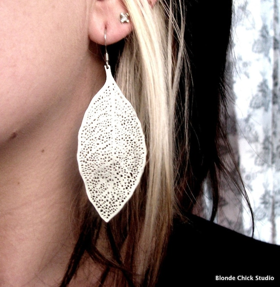 MIRROR MIRROR-Silver Leaf Earrings