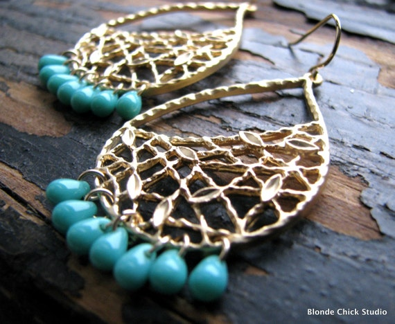 ARIEL-Golden Textured Teardrop Earrings with Mesh and Mini Leaf Detail and Teal Drop Beads