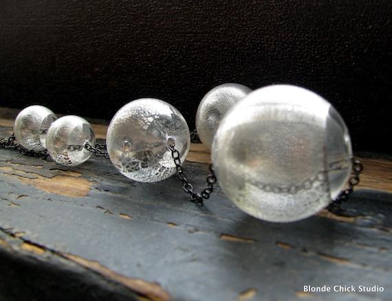 LILA-Silver Foil Hollow Glass Bead Gunmetal Necklace