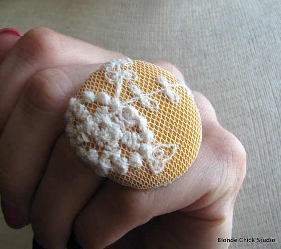 DECO RING no.26-Mustard Yellow Fabric with White Embroidered Lace Netting Overlay Ring-Made To Order