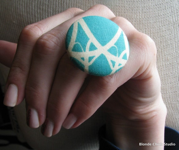 DECO RING no.46-Teal Aqua and Cream Fabric Ring
