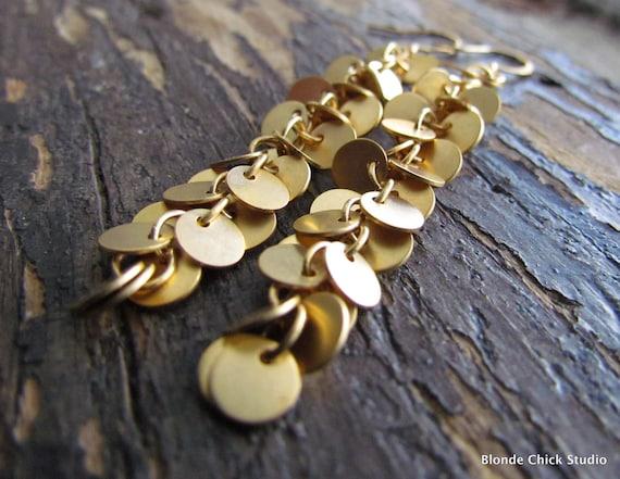 CONFETTI-Gold Circle Dangle Earrings