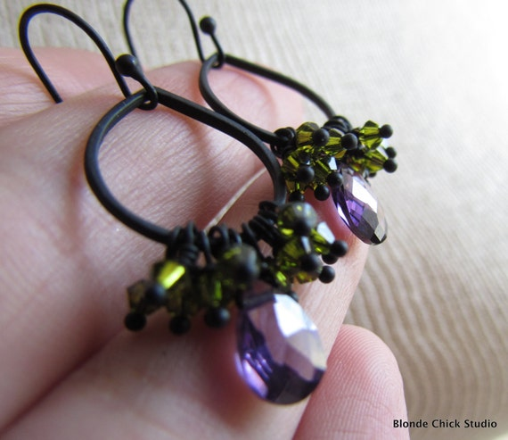 GWYNETH-Matte Black Tiny Teardrop Hoop Earrings with Olive Green Swarovski Crystals and Purple Cubic Zirconia
