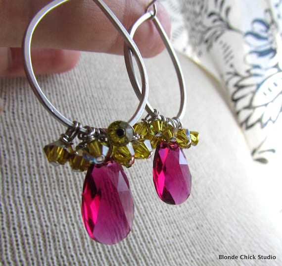 ZOEY-Silver Teardrop Hoop Earrings with Lime Yellow and Raspberry Hot Pink Swarovski Crystals