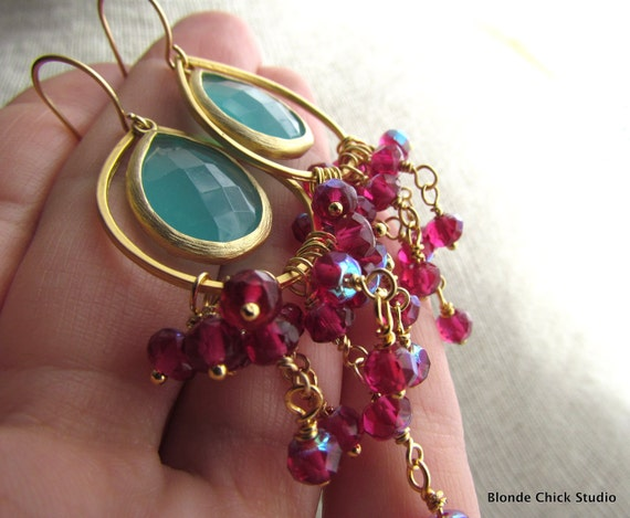 ODETTE-Gold Teardrop Hoop Earrings with Aqua Framed Glass Stone and Raspberry Hot Pink Glass Rondelle Beads