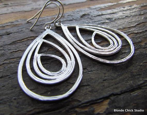 SUSANNA-Matte Silver Layered Teardrop Hoop Earrings