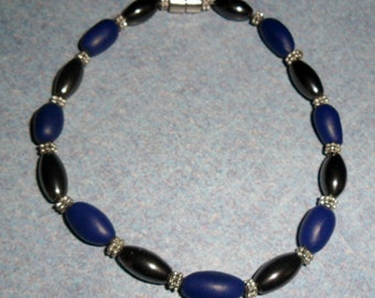 Polymer Clay and Magnetic Hematite Blue Anklet