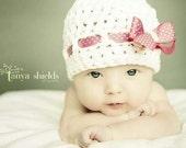 Custom Bow Hat - Baby Girl Photo Prop - MULTIPLE SIZES - Baby Bow Hat .. little girl hat .. newborn photo prop .. polka dot .. custom hat