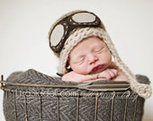 baby pilot hat // newborn photo prop // multiple sizes // aviator hat with goggles // aviator baby hat // chin strap // brown pilot beanie