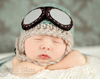 Baby Pilot Hat - Newborn - 12 month - MULTIPLE SIZES - Aviator Hat With Goggles - Photo Prop - BLUE