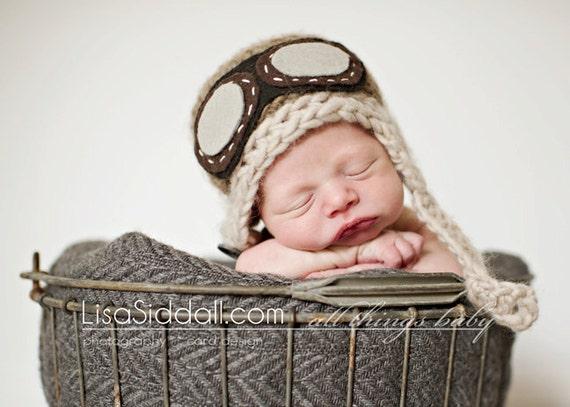 baby pilot hat // newborn photo prop // multiple sizes // aviator hat with goggles // aviator baby hat // chin strap // brown pilot beanie